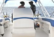 Vue bateau pêche à la traine